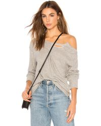 LNA - Brushed Madly Off Shoulder Sweatshirt In Grey - Lyst