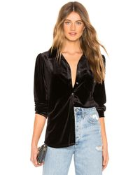 1.STATE - Long Sleeve Velvet Button Down Top - Lyst