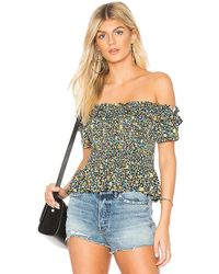 BCBGeneration - Smocked Crop Top In Blue - Lyst