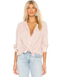 Splendid - Cotton Voile Button Down In Blush - Lyst