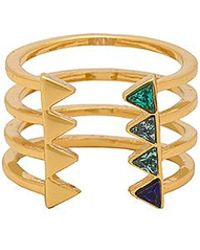 Rebecca Minkoff - Stacked Triangles U-ring In Gold. - Lyst