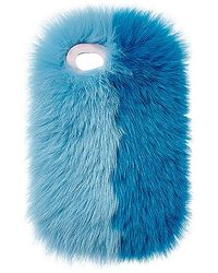 Charlotte Simone - Phone Fluff Faux Fur Iphone 7/8 Case In Blue. - Lyst