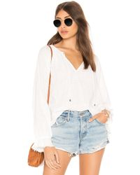 Splendid - Crosshatch Gauze Blouse In White - Lyst