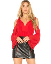 BCBGMAXAZRIA - Jalena Flutter Sleeve Top In Red - Lyst