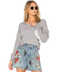 Wildfox - Solid Ruffle Sweatshirt In Gray - Lyst