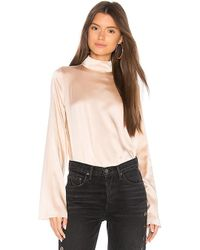 Kendall + Kylie - Silk Oversized Mock Neck Blouse In Blush - Lyst