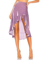 For Love & Lemons - Viva Velvet High Low Skirt In Lavender - Lyst