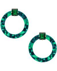 For Love & Lemons - Nathalie Hoop Earrings In Green. - Lyst