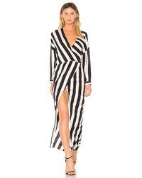 Michelle Mason - Draped Caftan Wrap Dress In Black & White - Lyst