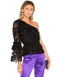 Cynthia Rowley - Ruffle Sleeve Lace Top In Black - Lyst