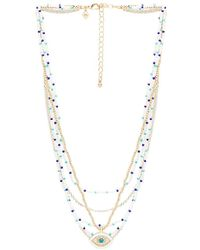 Layered Beads Evil Eye Necklace in Gold Rebecca Minkoff p9F9M