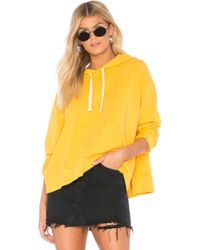 Monrow - Side Slit Hoodie In Yellow - Lyst