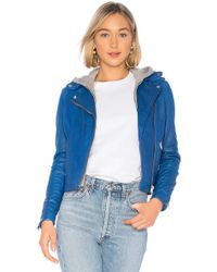 Lamarque - Holy Leather Jacket In Blue - Lyst