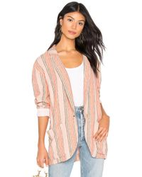 Free People - Simply Stripe Blazer In Blush - Lyst