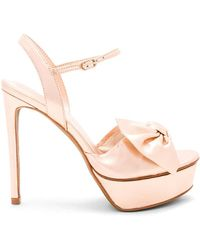 Lola Cruz - Bow Platform Heel In Pink - Lyst