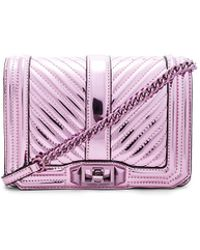 Rebecca Minkoff - Chevron Quilted Small Love Crossbody Bag In Pink. - Lyst