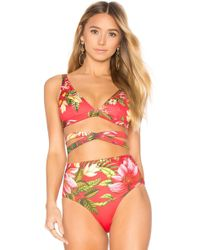 Agua Bendita - Lilou Reversible Bikini Top In Red - Lyst
