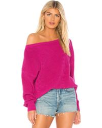 Callahan - X Revolve Shaker Knit Off Shoulder Jumper In Fuchsia - Lyst