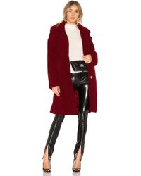 Kendall + Kylie - Single Breasted Teddy Coat In Red - Lyst