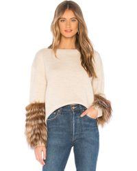 Alice + Olivia - Shiela Sweater With Fur Cuffs In Beige - Lyst