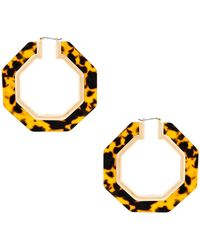 Rebecca Minkoff - Octagon Resin Hoop Earrings In Brown. - Lyst