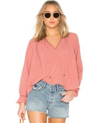 Splendid - Crosshatch Gauze Blouse In Rose - Lyst