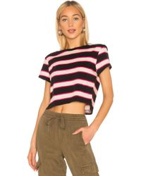 Pam & Gela - Stripe Crop Tee With Torque Seam - Lyst