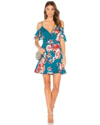 Band Of Gypsies - Large Floral Ruffle Hem Dress In Teal - Lyst