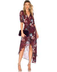 Nicholas - Burgundy Floral Wrap Dress - Lyst