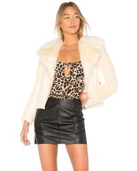 For Love & Lemons - Andi Faux Fur Moto Jacket In Cream - Lyst