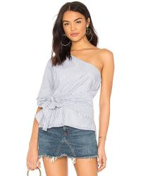 1.STATE - One Shoulder Wrap Blouse In Blue - Lyst