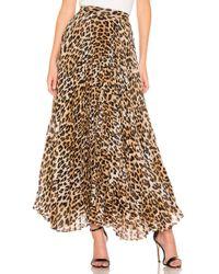 Alice + Olivia - Katz Pleated Maxi Skirt In Brown - Lyst