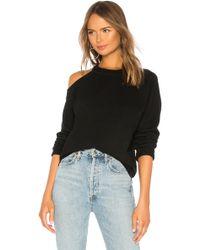 Monrow - Cold Shoulder Vintage Pullover In Black - Lyst