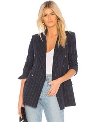 L'Agence - Brea Double Breasted Blazer In Navy - Lyst