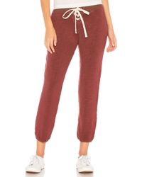 Monrow - Supersoft Lace Up Sweatpant In Burgundy - Lyst