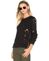 Black Orchid - Side Zip Distressed Sweatshirt - Lyst