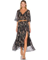 IKKS - Short Sleeve Floral Maxi Dress - Lyst