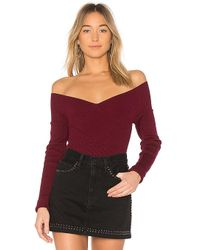 525 America - Rib Double V Criss Cross Sweater In Wine - Lyst