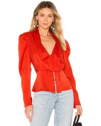 BCBGMAXAZRIA - Draped Sleeve Top In Red - Lyst