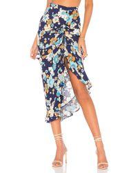 For Love & Lemons - Magnolia Shirred Midi Skirt In Blue - Lyst