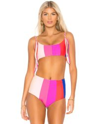 Paper London - Rainbow Sunshine Bikini Top In Fuchsia - Lyst