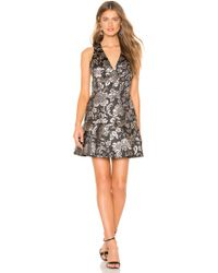 Alice + Olivia - Marleen Fit And Flare Dress In Metallic Silver - Lyst