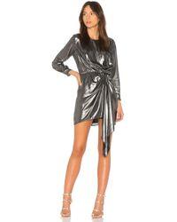 Krisa - Seymore Draped Dress In Metallic Silver - Lyst