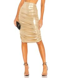 Norma Kamali - Shirred Skirt In Metallic Gold - Lyst