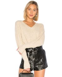 Michael Stars - Puffed Sleeve V Neck With Thumbholes In Tan - Lyst