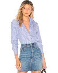 68190893 Kenzo Women's Striped Cotton Poplin Drawstring Shirt in Black - Lyst
