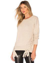 Bobi - Cashmere Lace Up Sweater In Tan - Lyst