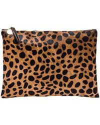 Clare V. - Flat Calf Hair Clutch In Brown. - Lyst
