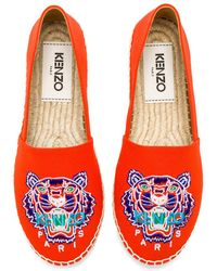 KENZO - Tiger Head Espadrilles In Red Cotton And Jute - Lyst