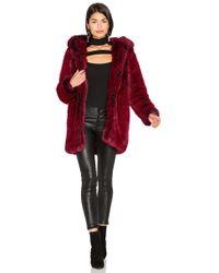 LPA - Faux Fur Coat 84 In Red - Lyst